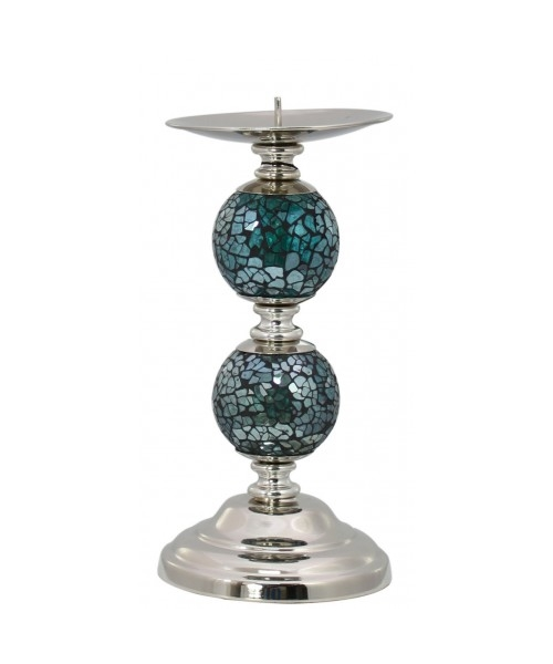 Candle holder with turquoise mosaic design