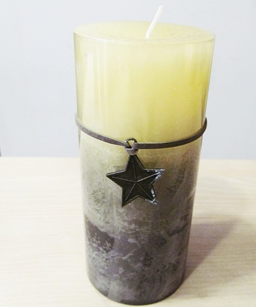 Yellow,grey candle