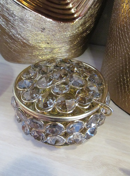 Glass jewellery box with crystal design