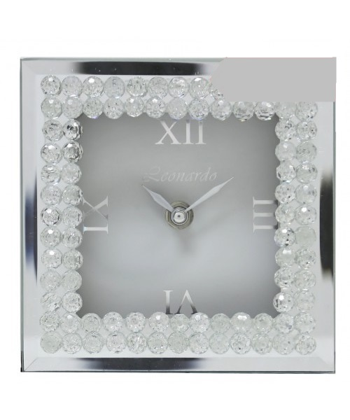 Silver clock with crytsal design