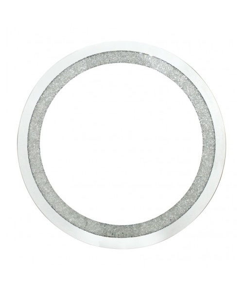 Silver wall round mirror