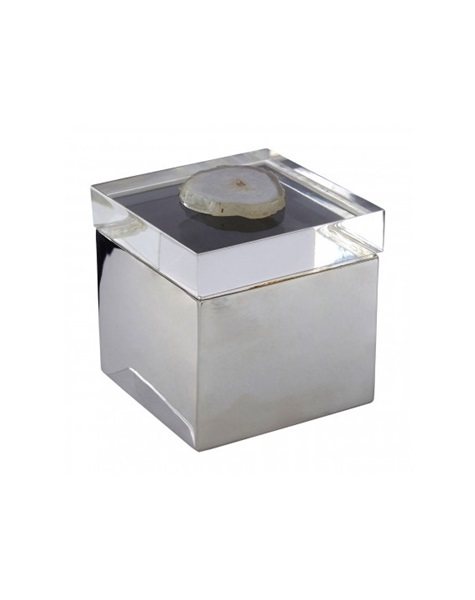 Silver jewellery box with stone design