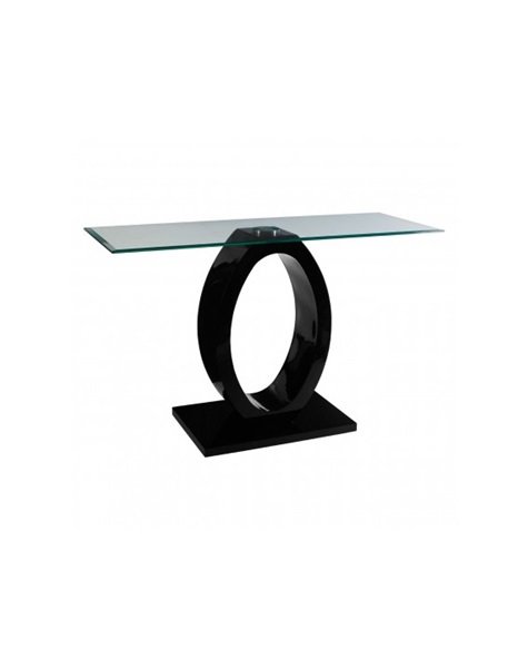 Black console table  polished glass-plate