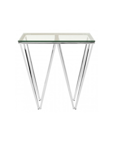 Silver end table with glass roof