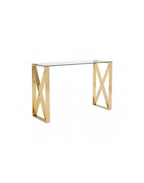 Golden console table  polished glass-plate