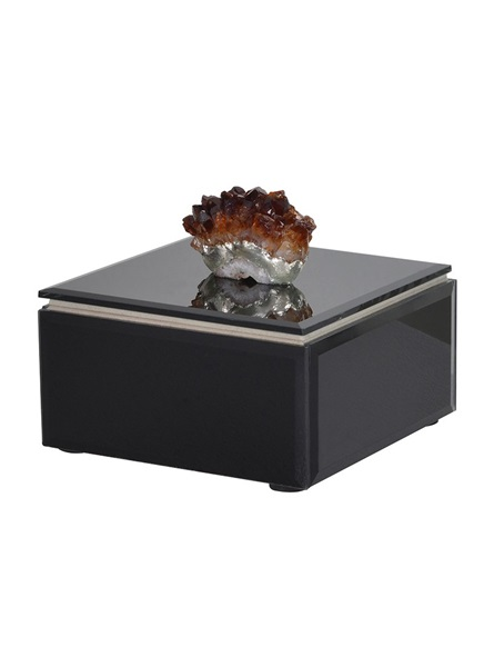 Black,brown jewellery box with stone design