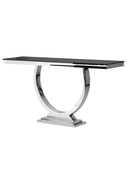 Chrome console table  polished glass-plate