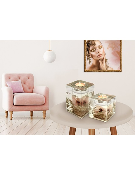 Golden,pink glass candle holder
