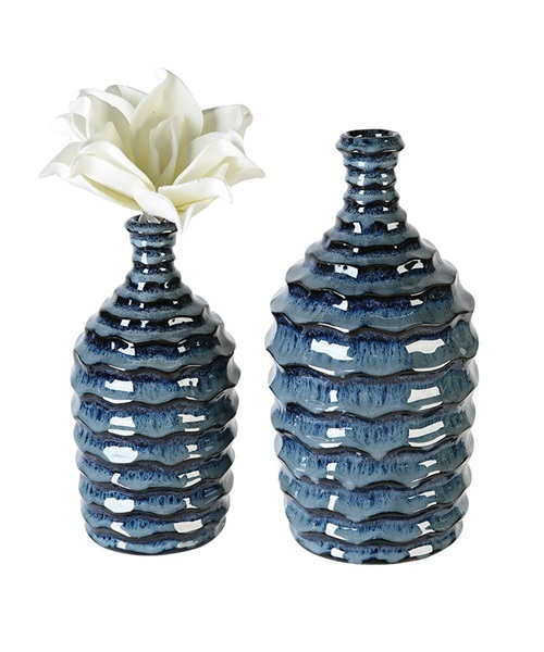 Blue vase with wave design
