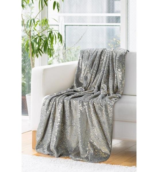 Grey and gold shiny bedspread