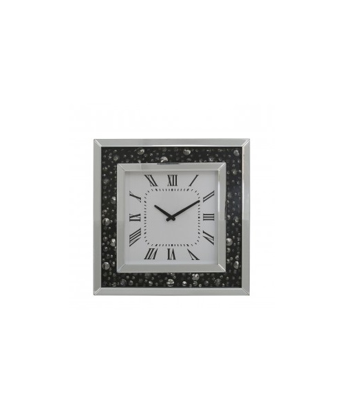 Black wall clock with crytsal design