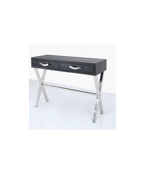 Snakeskin leather black artdeco console table