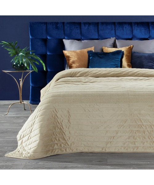 Beige and gold color bedspread