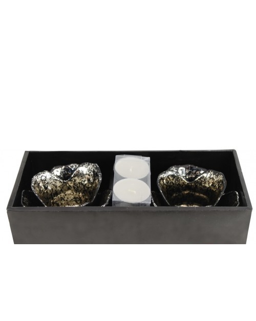 Black,golden flower tealight holder