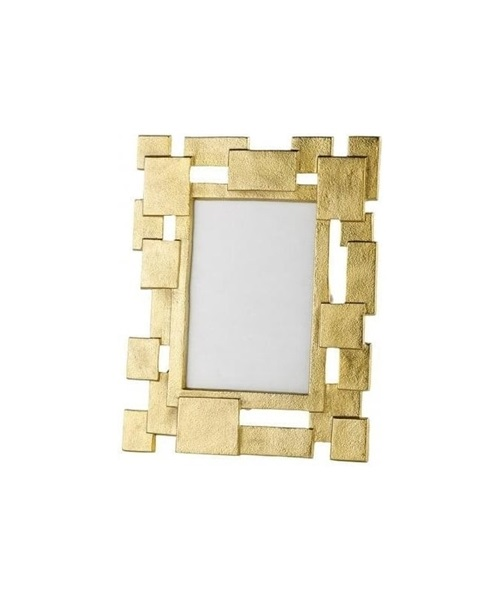 Golden photo frame with geometrical design