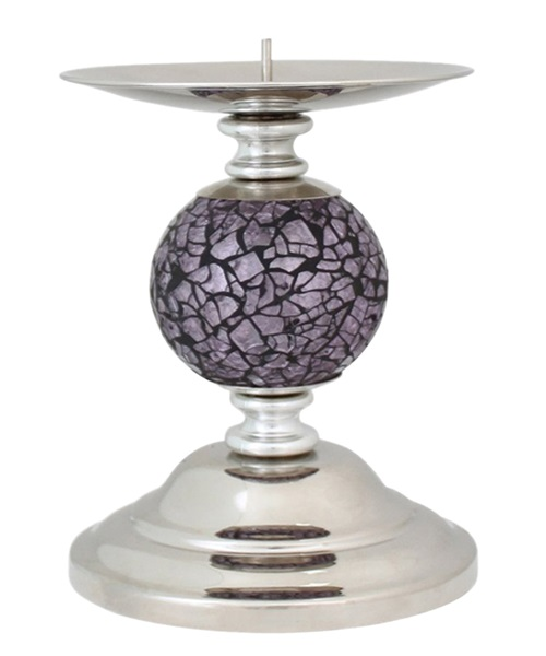 Candle holder with violet mosaic