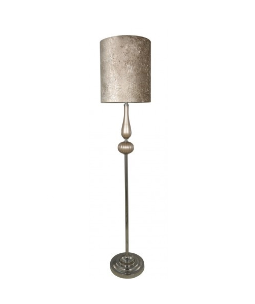 Golden floor lamp with crocodile leather design