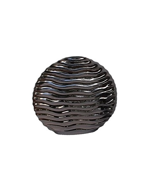 Anthracite vase with wave design