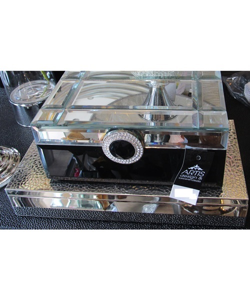 Black,Silver mirror jewellery box