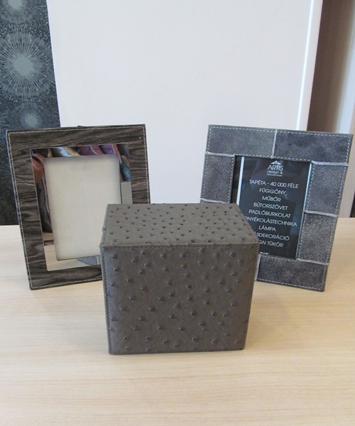 Jewellery box snakeskin leather grey