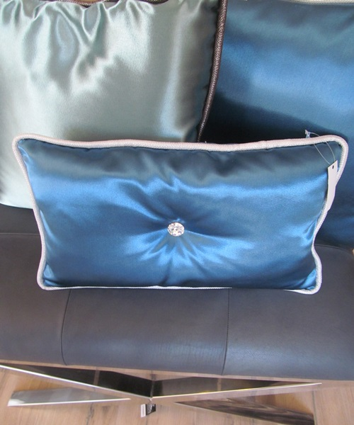 Blue cushions with swarovski crystal