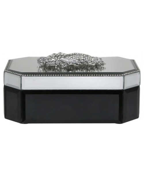 Black,Silver jewellery box with brooch design