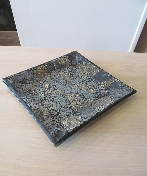 Black,golden mosaic square bowl