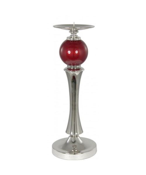 Chrome candle holder with red ball design