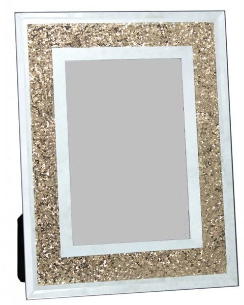 Photo frame with golden crused diamond