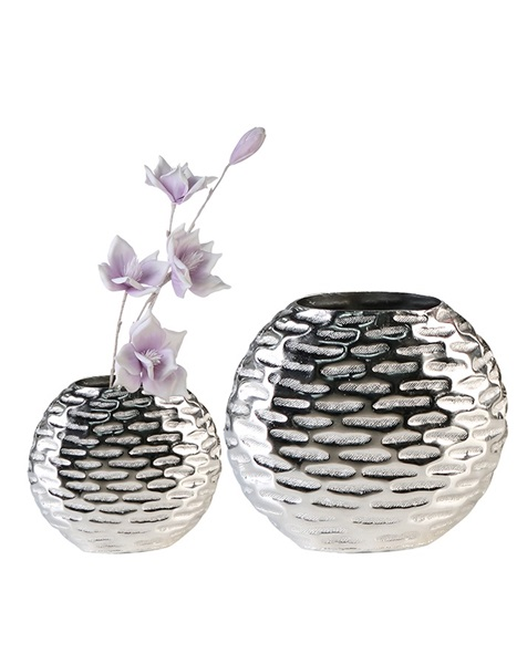 Silver vase with printed design