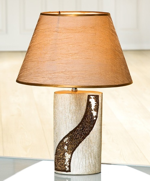 Table lamp with glass mosaic copper