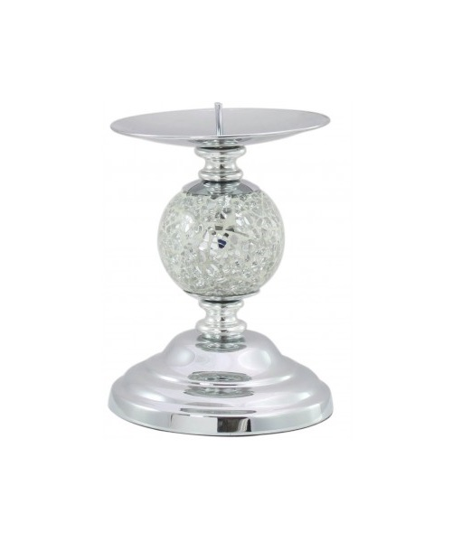 Candle holder with silver mosaic