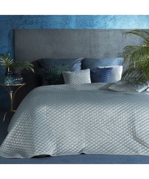 Clear blue shiny bedspread