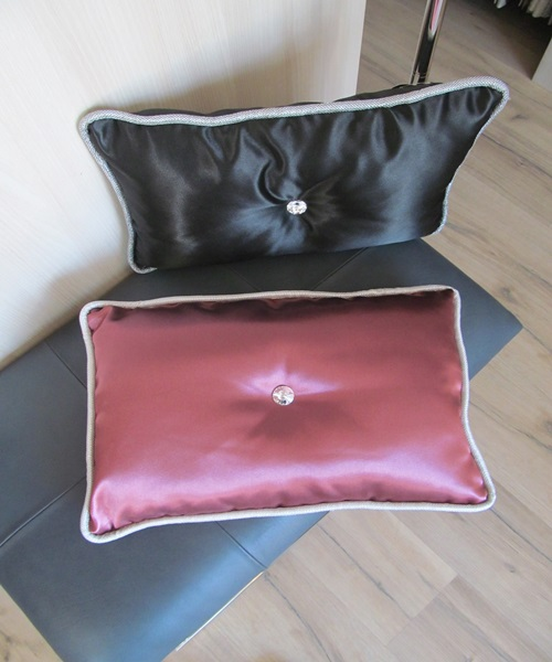 Red cushions with swarovski crystal