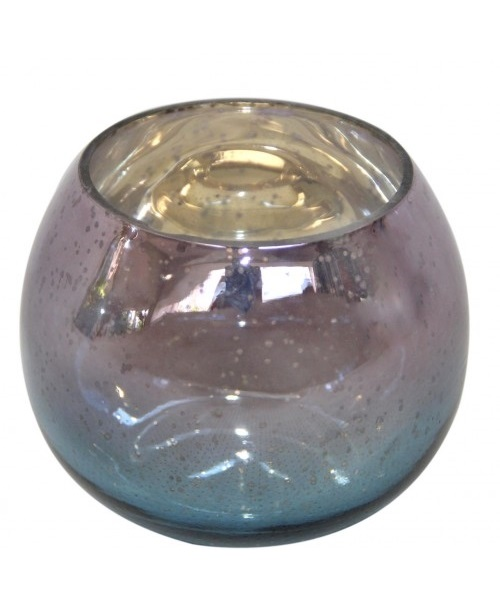 Blue,purple glass ball candle holder